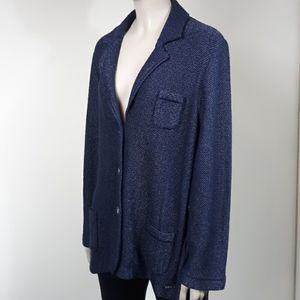 LUCIA Navy Blue Sweater Blazer Jacket Sz M